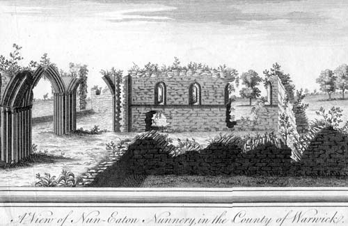 An engraving of the Priory of St. Mary, Nuneaton | Warwickshire County Council