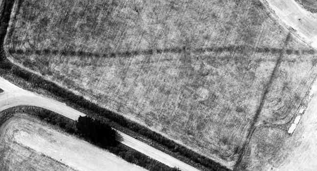 A double pit alignment visible as a cropmark off Lawford Heath Lane | WA Baker