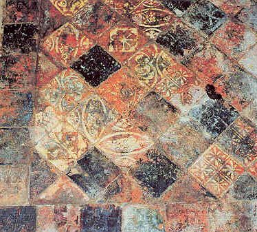 Medieval tiled floor in Guy's Tower, Warwick Castle | Warwickshire County Council