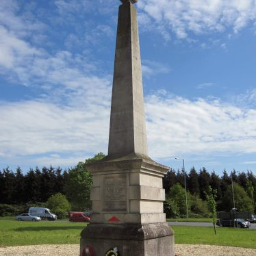 The Monument to the 29th Division. Poppies are on the floor at the base of the monument, which is an obelisk. | Image courtesy of Anne Langley