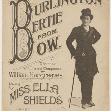 Poster of Ella Shields from 1915, published by The Lawrence Wright Music Co. advertising their song 'Burlington Bertie from Bow', which they also performed at the Leamington Lights Show in 1952 | Image originally from the National Portrait Gallery, London