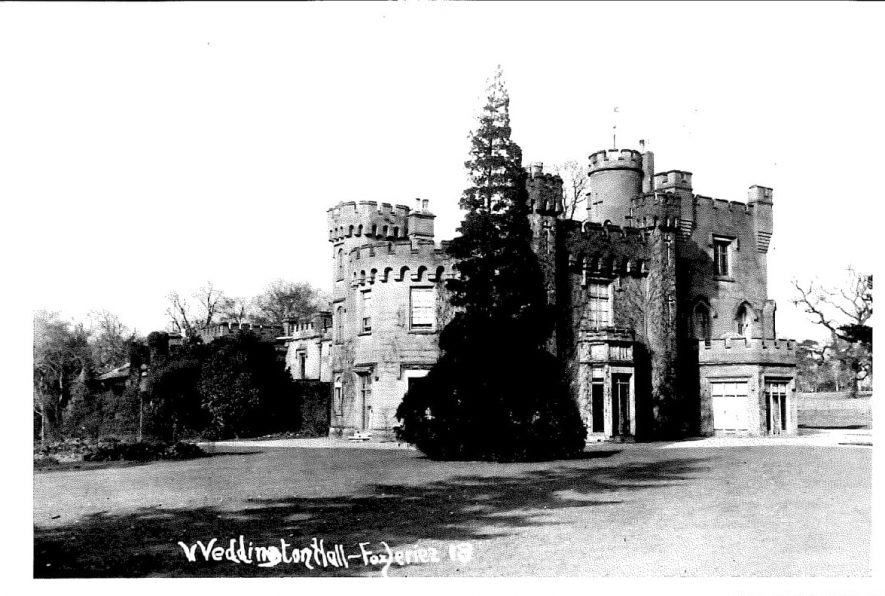 Weddington Castle, photo dated 1918. | Image courtesy of https://www.weddingtoncastle.co.uk/ and used with their permission