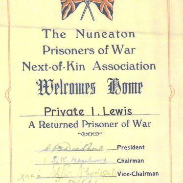 Private Lewis returns home safely to Nuneaton. A certificate welcoming home Private Lewis. | Image courtesy of Dave Lewis / Nuneaton Memories