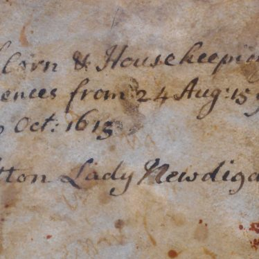 Front cover of Lady Newdigate's Account of Corn and Housekeeping Expenses, 1596-1615. | Warwickshire County Record Office reference CR136/A37