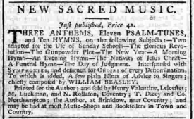 Cutting from the Northampton Mercury. Advert for 'New Sacred Music, just published. Three Anthems, Eleven Psalm-Tunes, and Ten Hymns.' | Image supplied by Edwin Macadam