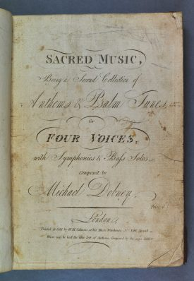 Dobney's 'Second Book of Sacred Music'. The cover page, with details in a variety of scripts. | Warwickshire County Record Office reference DR397/76
