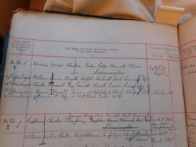 The entry showing the first vehicle registration in Warwickshire to Mr Henry Hawkes. | Warwickshire County Record Office reference CR1827/2