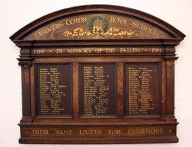 Chilvers Coton School First World War Memorial | Image courtesy of John Burton