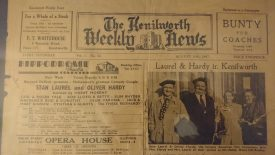Kenilworth Weekly News, 30th August 1947. The page features a picture of Laurel and Hardy, and on the left hand side is detail about their appearance at the Coventry Hippodrome | Image supplied by Dave Skinner
