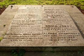 The gravestone referencing Canon Robert Savage and George Mandyoli Konah Macomo. | Image courtesy of Colin Paterson