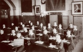 Boys class at Chilvers Coton with George Mosedale, c. 1900 | Image courtesy of Chilvers Coton Heritage Centre