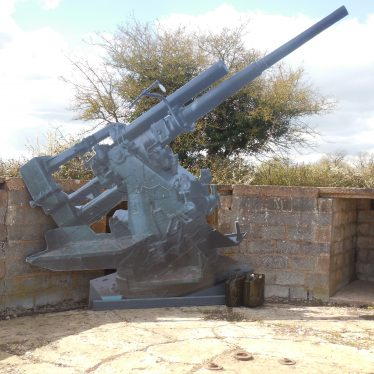 Full size replica 3.7 HAA Gun in gun emplacement (Open Day, April 2016), Goodrest Farm.   Image courtesy of the Friends of the Anti-Aircraft Battery at Goodrest Farm (FAAB@GRF)