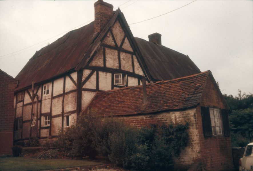 The property was known locally as the Parrott House after its owner. It was subsequently sold, taken apart and rebuilt in Milton Keynes. Image showing a gable end, 1966. | Warwickshire County Record Office reference PH 1307/3
