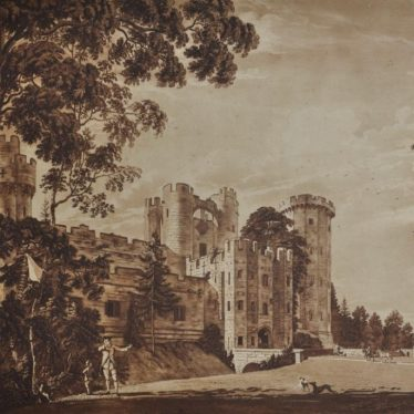 The East Front of Warwick Castle by Paul Sandby, aquatint on paper, c.1775. | Image courtesy of the Herbert Art Gallery & Museum, Coventry.