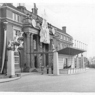 Council House (now renamed Town Hall) Coton Road, Nuneaton, decorated for Queen's Coronation, 1953. | Image courtesy of Colleen Warren / Nuneaton Memories