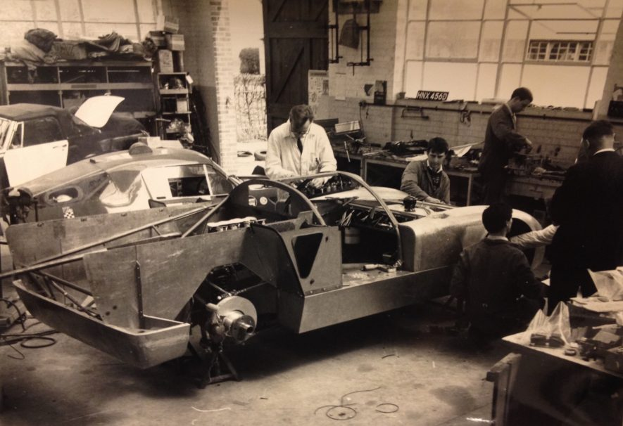 The Healey SR (raced at Le Mans in 1968-1969) being built at the Experimental Works, Warwick. | Image courtesy of Warwickshire County Record Office