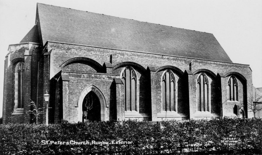 Church of St Peter, Clifton Road, Rugby.   Postcard by Greer Stationer of Rugby, supplied by Neville Taylor