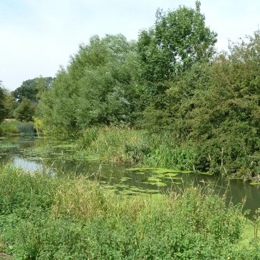 Site of the old water mill at Weston under Wetherley (island in centre of river Leam). | Image courtesy of Jane Jones