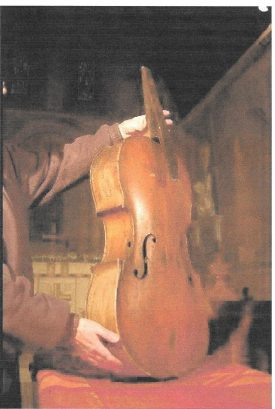 The Bekswell 'Cello as found before restoration - note hole in side, front coming off, no neck, scroll, bridge, etc. | Image supplied by Alastair Dymond