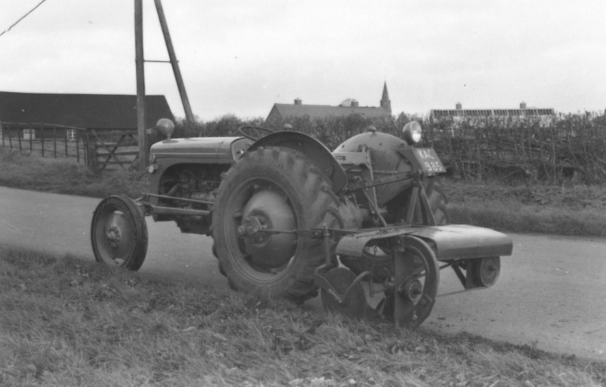 Ferguson TE20 built at Banner Lane, Coventry. A verge trimmer is attached. 1950s. The tractor was part of the Direct Labour teams that carried out work on Warwickshire County Council highways. | Image supplied by Andy Bean