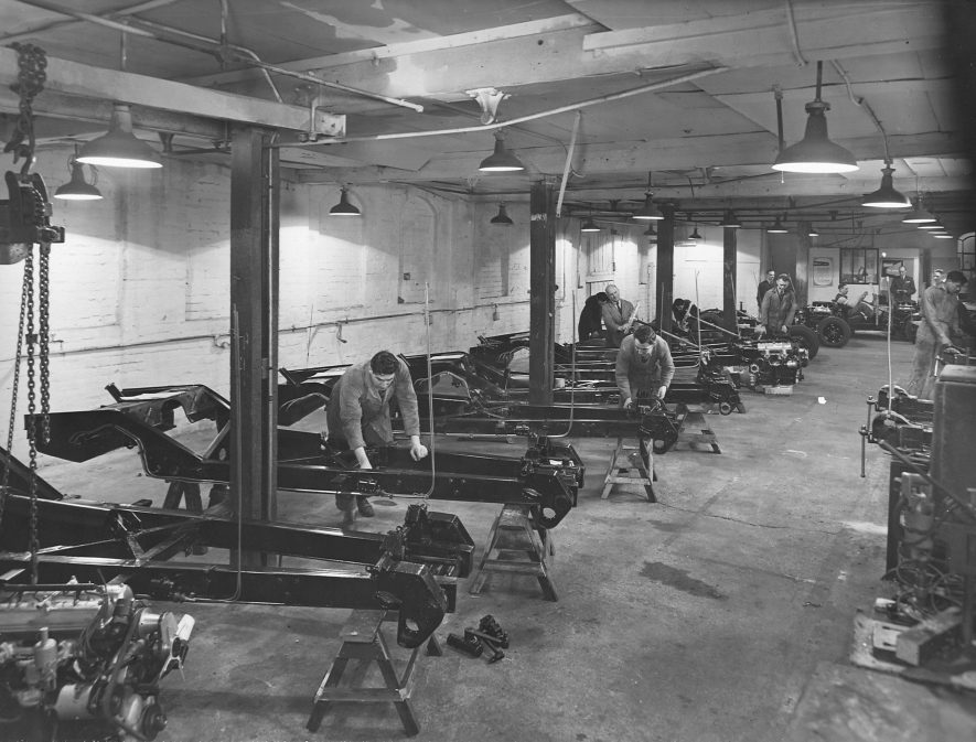 Early production at the Healey works, Warwick. | Image courtesy of Warwickshire County Record Office