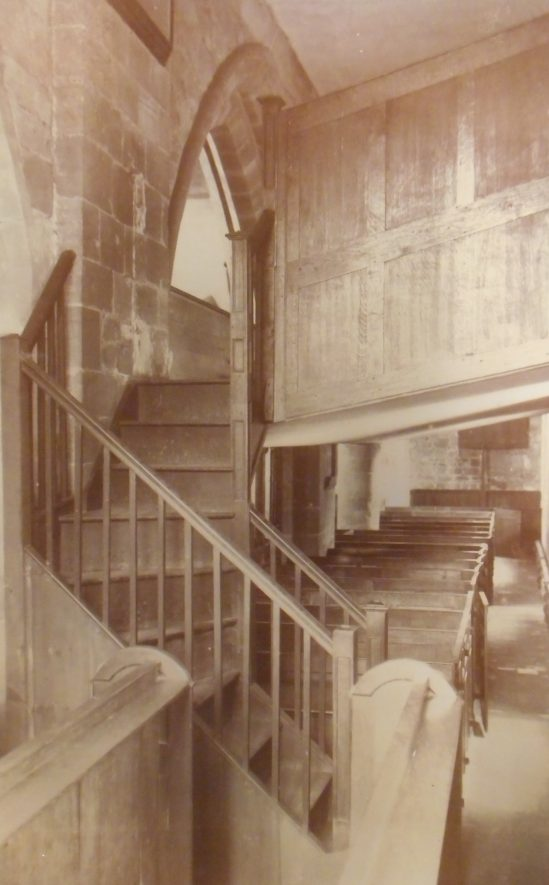 Berkswell Church stairs to gallery. | Postcard, Frederick Lewis. Warwickshire County Record Office reference PH352/28/38