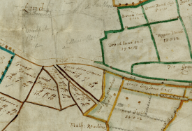 A working document? Pencil marks on the Bishop's Tachbrook map. | Warwickshire County Record Office reference CR1886/M28
