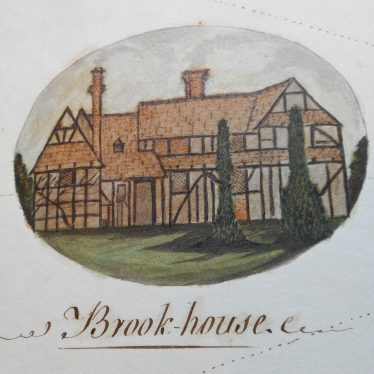 Buckle's detailed drawing of Brook House. | Warwickshire County Record Office reference CR347/5