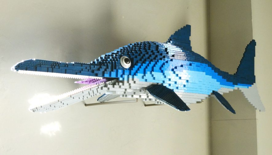 Lego® ichthyosaur at the Market Hall Museum, Warwick. 2017. | Image courtesy of Jon Radley