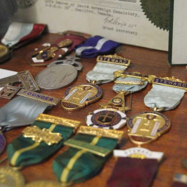 Medals at Abbey lodge, Nuneaton. 2017. | Image courtesy of Nuneaton Memories