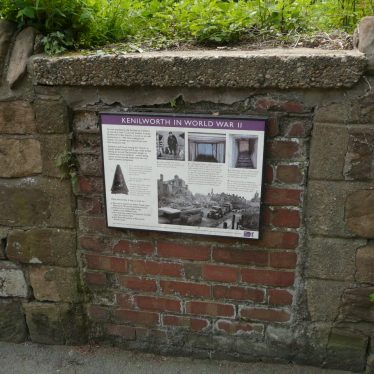 Blocked up entrance to air raid shelter by St Nicholas Church. 2017. One of Kenilworth's reminders of the Second World War, it has a plaque attached with details of it and other Kenilworth WW2