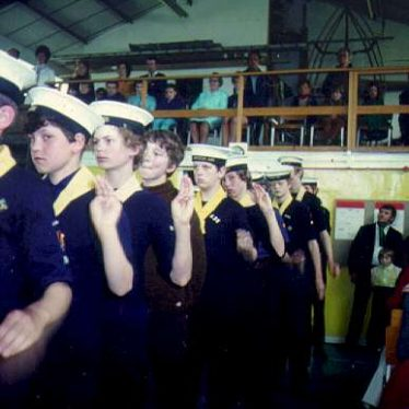 Before the 2nd floor went in at the 2nd Warwick Sea Scouts headquarters. | Image courtesy of the 2nd Warwick Sea Scout Group's archives.