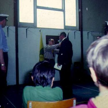 2nd Warwick Sea Scouts leader receiving an award. | Image courtesy of the 2nd Warwick Sea Scout Group's archives.