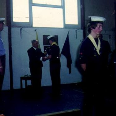 2nd Warwick Sea Scouts receiving an award. | Image courtesy of the 2nd Warwick Sea Scout Group's archives.