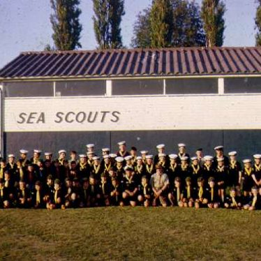 2nd Warwick Sea Scouts in front of headquarters. | Image courtesy of the 2nd Warwick Sea Scout Group's archives.