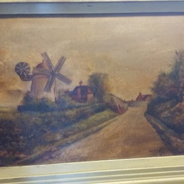 Tuttle Hill windmill, Nuneaton. | Image courtesy of Julie Orford from a painting owned by herself. It is an oil on canvas dated 1922, painted by R Bateman.