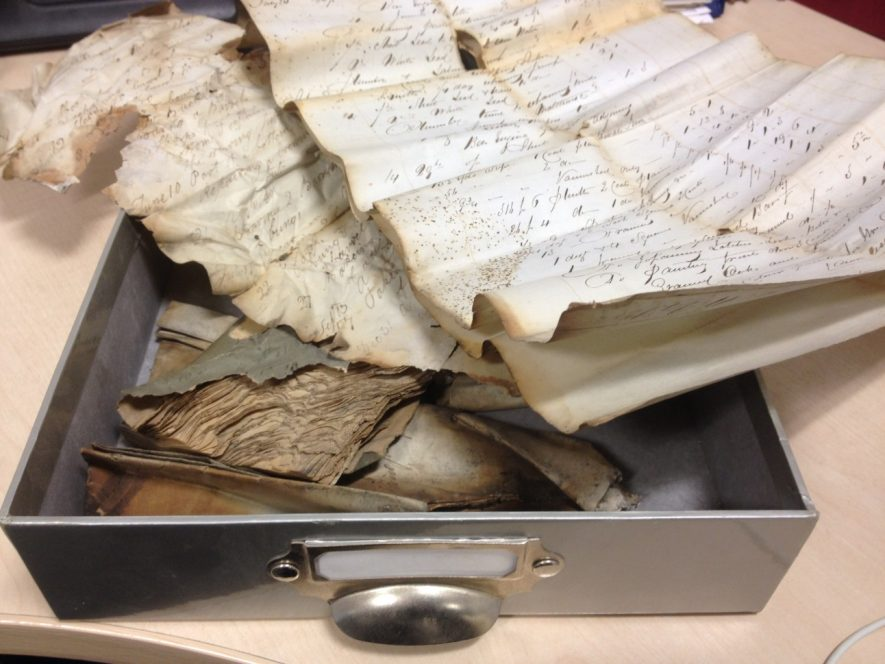 Records found in the cavity of a window frame. | Warwickshire County Record Office reference CR4896
