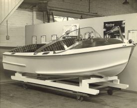 A Healey Marine boat at the Cape Works, Warwick (The Kenilworth Studio). | Warwickshire County Record Office reference CR4804
