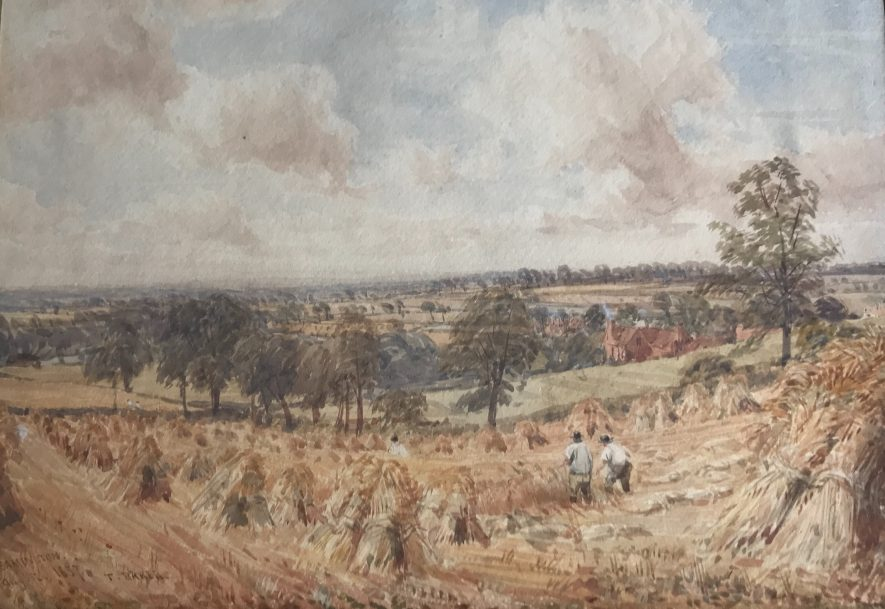 Painted by Thomas Baker 1809-1864 and inscribed and signed 'Wheat field near Leamington, August 1857.' | Image courtesy of Robert Mulraine.