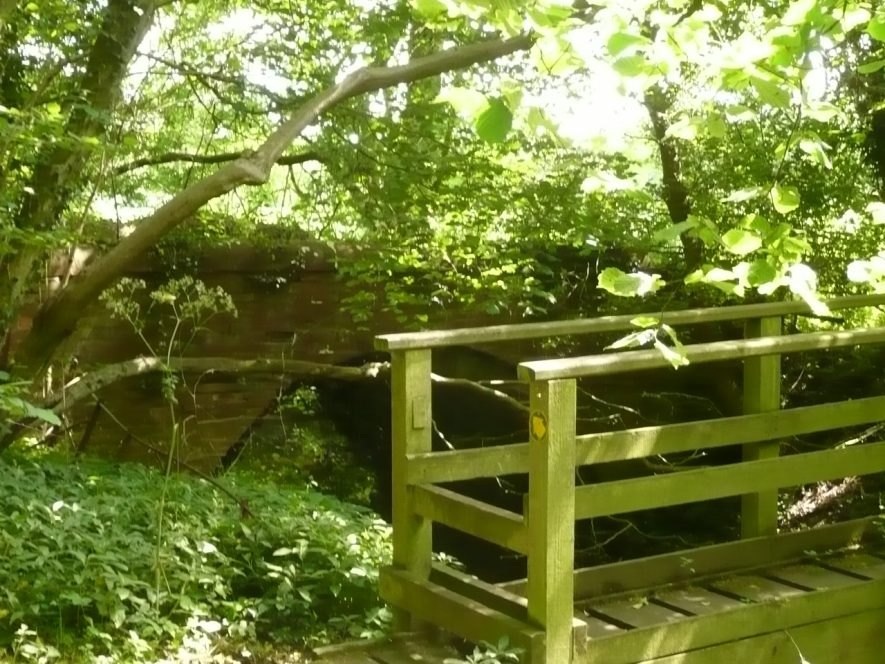 Old and new bridges in the grounds of Newbold Revel, 2017. The old bridge is much like a pen knife with a new handle and a new blade. The base of the arch is of 18tth century brick, and all the rest seems to be repairs from all dates except the present. | Image courtesy of William Arnold