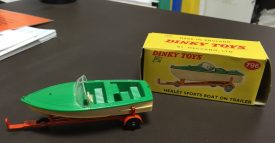 Dinky toy of Healey boat, and trailer. | Image courtesy of the Warwickshire County Record Office