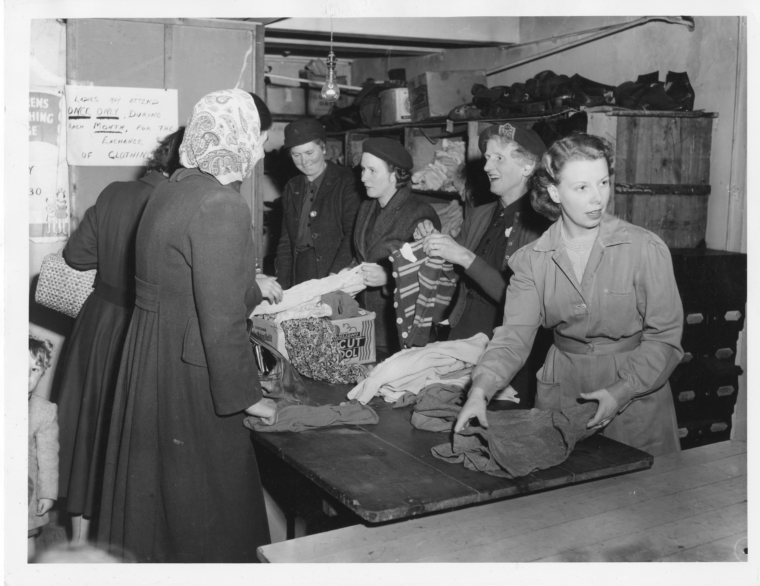 A WVS clothing exchange, c. 1945-1950.