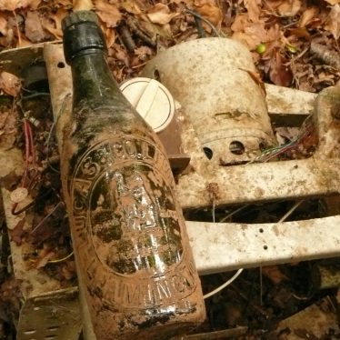 Old Victorian(?) beer bottle (Lucas co. ltd. Leamington) found in pit on top of television set dumped in pit, Kirby Corner. | Image courtesy of William Arnold
