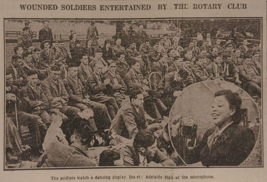 Adelaide Hall singing to wounded soldiers at the Rotary Club at Myton Hamlet,Leamington Spa Courier, 28 July 1944. | Reproduced with permission from Leamington Spa Courier and Warwickshire County Record Office