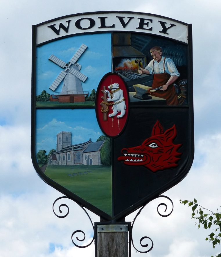 Wolvey village sign, 2013. | cc-by-sa/2.0 - © Mat Fascione - geograph.org.uk/p/4185977