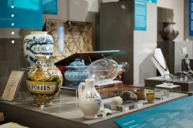 A Market Hall Museum display. Features crockery. | Image courtesy of Heritage & Culture Warwickshire