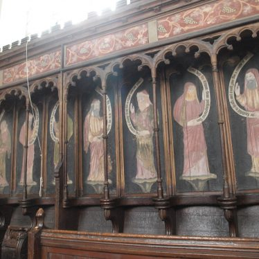 Above the stalls at the church in Astley are painted Apostles and Prophets. | Image courtesy of Caroline Irwin