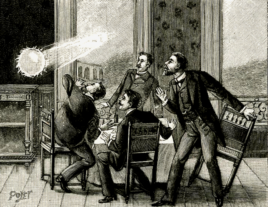 19th century engraving depicting ball lightning. | Originally uploaded to Wikipedia by Dencey