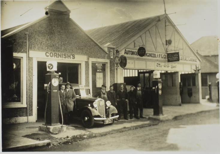 Photograph of the garage set up by Donald Healey in Perranporth next to his father's general store. 1930s. | Warwickshire County Record Office reference CR4804/4/34