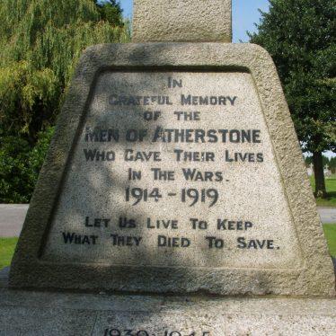 Atherstone cemetery war memorial inscription, 2017. | Image courtesy of John Parton